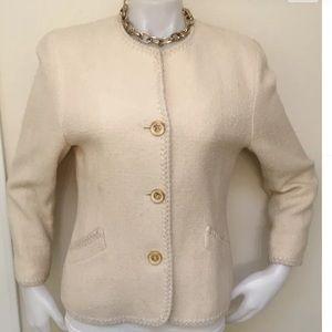PEEKABOO Off White Wool Boucle Jacket Sz L